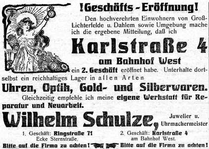 Zeitungsannonce von 1912 zur Geschäftseröffnung in der Karlstraße 4 am Bahnhof Lichterfelde-West.